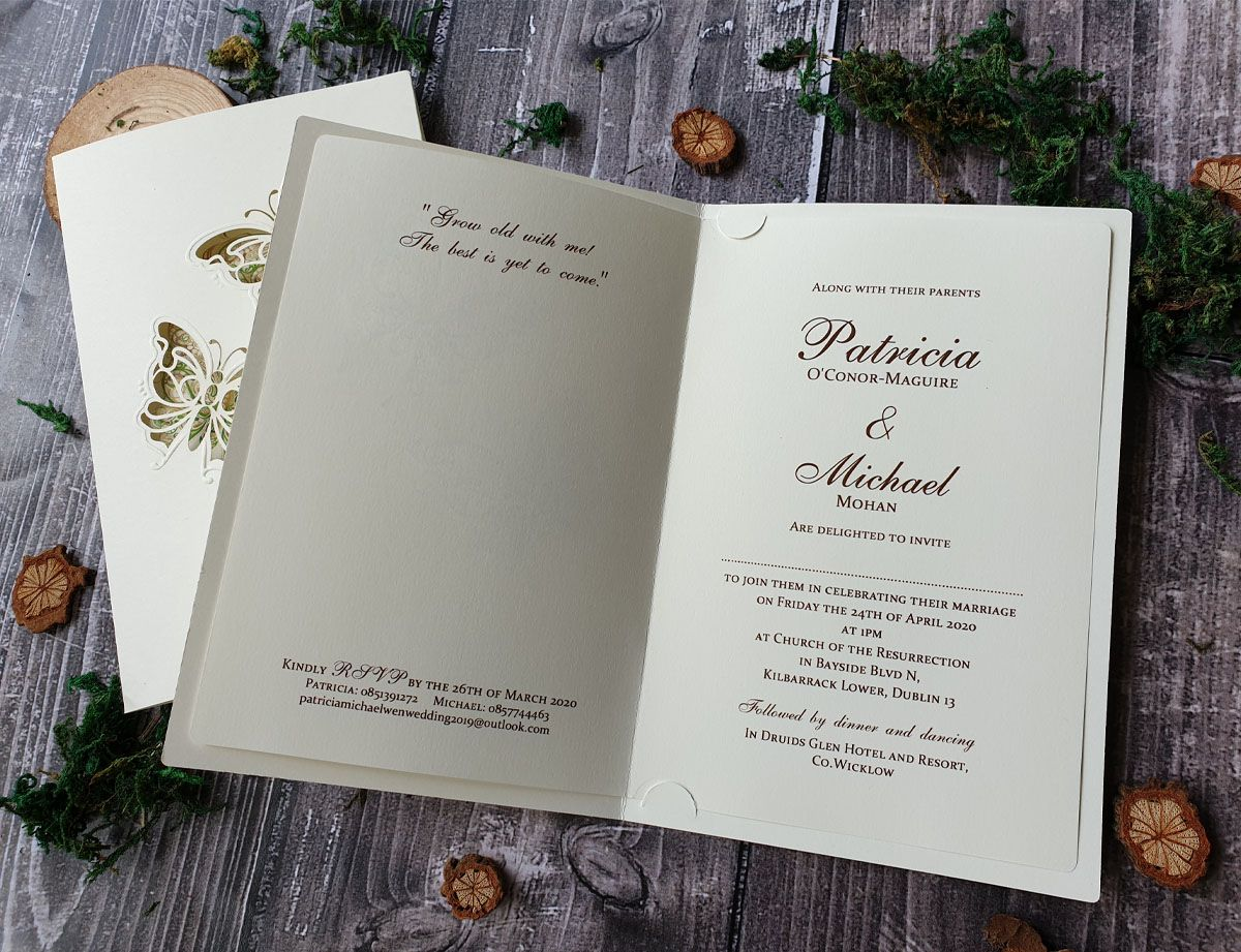 butterflies wedding invitation
