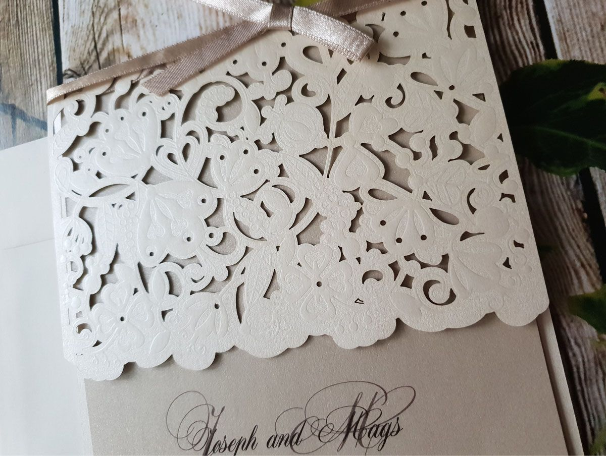 elegant beige shimmer wedding invitation