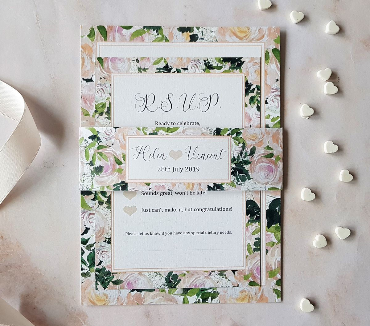 Bespoke Wedding Invitations: Boho Watercolor Floral Frame Bouquet Border Wedding Flat