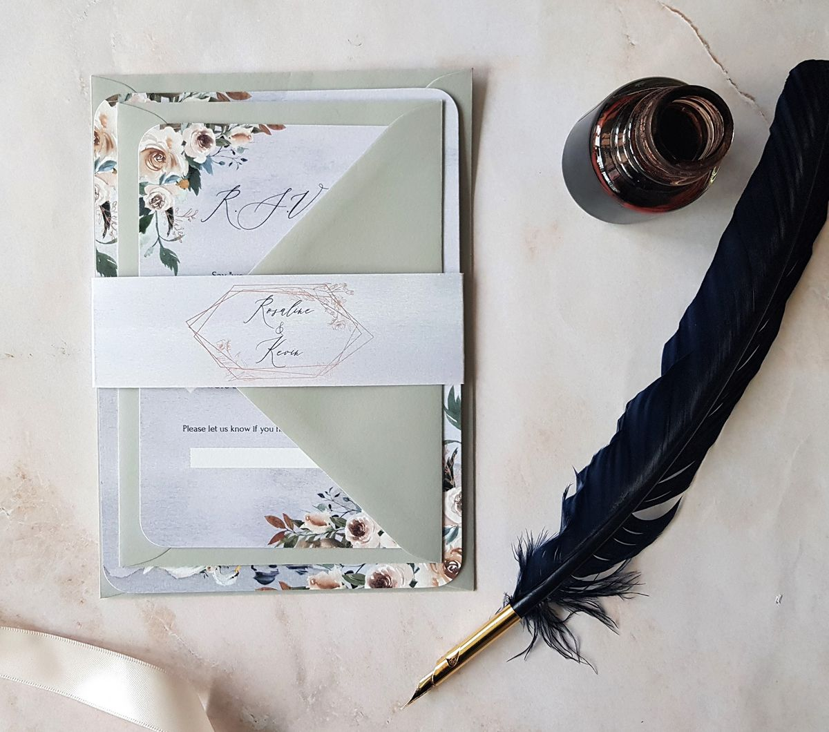 Bespoke Wedding Invitations: Romantic Swan-inspired Wedding Invitation